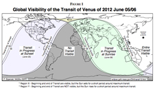 map showing visibility from Earth of 2012 Venus transit