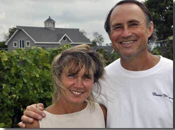 Mark and Kimberly Cascia at their vineyard on Kent Island, MD.