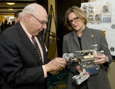 Kathryn Sullivan,  Frank Cepollina and a robotic refueling gadget