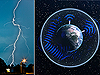 Lightning (left) as seen from Earth's surface - Graphic of Schumann resonance from space (right).