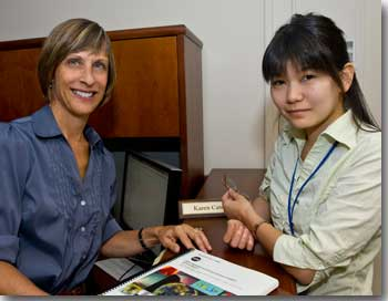 Karen Catucci with Miho Hasegawa in the NASA Postdoctoral Program from Japan