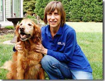 Karen and her four legged companion Layna, the family's Golden Retriever who passed away in July 2011.