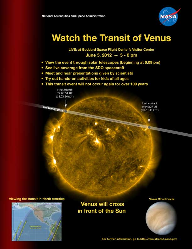Flyer for the Venus Transit event at the Goddard Visitor Center