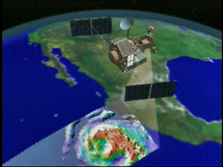 This is an image of the TRMM satellite making passes over the Earth.