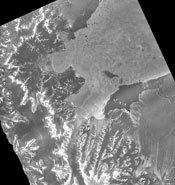 shows the Larsen ice shelf over a series of years between 1996 and 2003