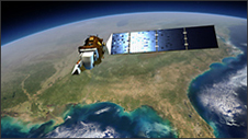 artists concept shows Landsat orbiting the Earth