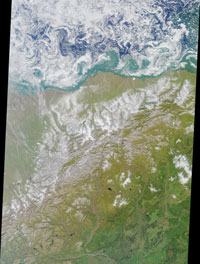 This colorful image of the Arctic National Wildlife Refuge and the Beaufort Sea was acquired by the Multi-angle Imaging Spectroradiometer on August 16, 2000.