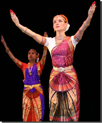 Severine Tournois performing a traditional Indian dance.