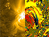On the left is the image shows the region on the sun that Viall analyzed. The image on the right uses specific colors to describe whether certain areas on the sun cooled or heated over a 12-hour period on June 19, 2010.