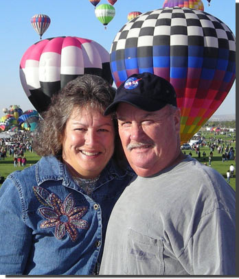 Diane Cockrell and her husband at the 2011 Albuquerque Hot Air Balloon Festival