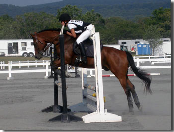 Rita Ainane competing in a horseback jumping event.