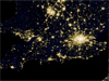 Night view of London and surrounding area