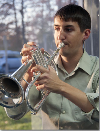 Rob Garner playing the flugelhorn.