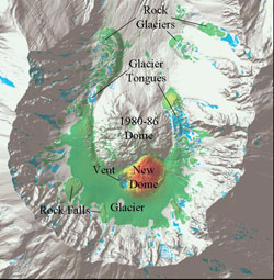 Elevation differences in the crater were found between two airborne LIDAR surveys conducted in September, 2003 and October 4, 2003.