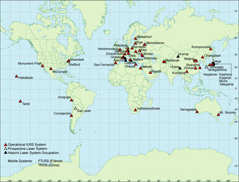 This is the map of international laser ranging network stations that collected the LAGEOS satellite data, which were used for this experiment.