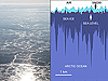 Left: The sun reflects over thin sea ice near the Denmark Strait off of eastern Greenland. Right: Diagram showing the relationship between snow and sea ice.