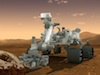 An artist's concept of the MSL Curiosity rover on Mars
