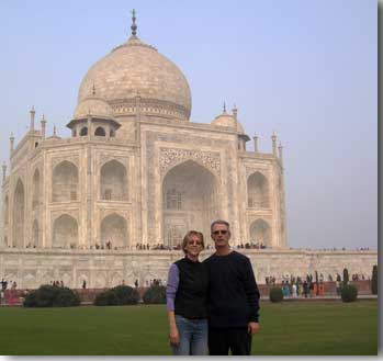 Ed Rogers and his wife in front of the Taj Mahal.