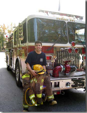 Brian Robers on the front of his fire engine