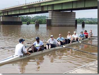 Denna Lambert with her rowing crew.
