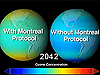 Ozone projection for the year 2042, with (left) and without (right) the Montreal Protocol.