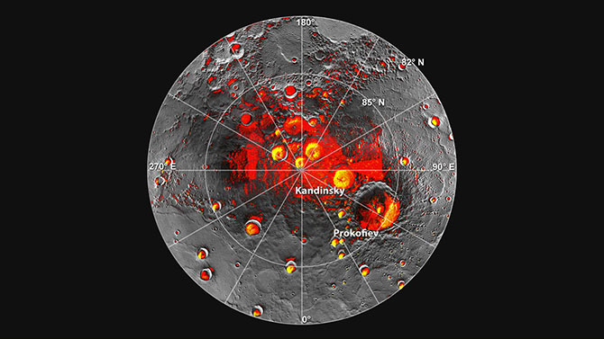 Shown in red are areas of Mercury's north polar region that are in shadow in all images acquired by MESSENGER to date.