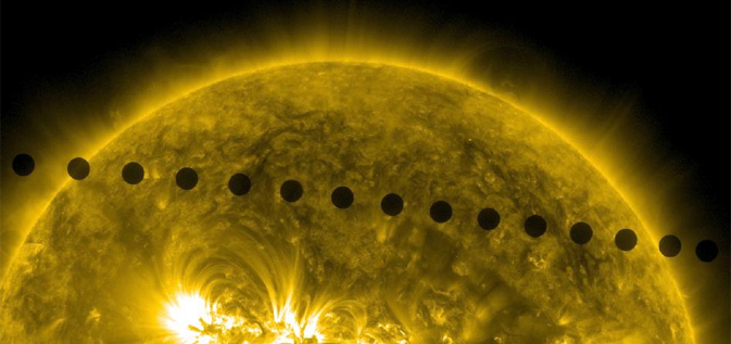composite image from SDO showing Venus crossing the face of the sun in June 2012