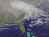 satellite image of eastern United States showing clouds associated with a March 2013 nor'easter