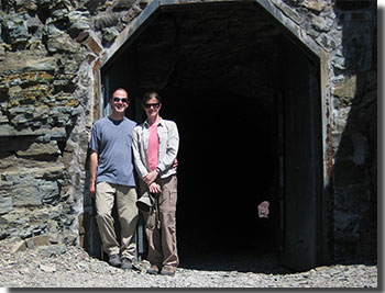 Photo of Lynn Carter and her husband, Bender, outside the Ptarmigan tunnel.