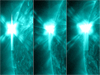 three side-by-side SDO images showing May 12-13 solar flares