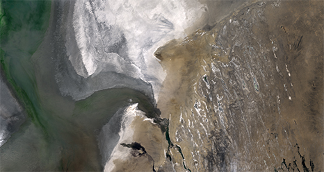 natural-color image of Aral Sea from LDCM