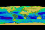 Still from the animation which shows three years of continuous SeaWiFS data (1997-2000) on a flat map of the Earth.