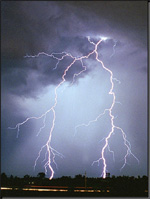 image of lightning striking the ground from forked lightning strikes