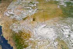 image of Arizona fire and Hurricane Claudette