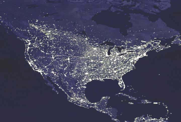 Nasa top photo earths night lights august 15 2003 us lights at night gumiabroncs Image collections