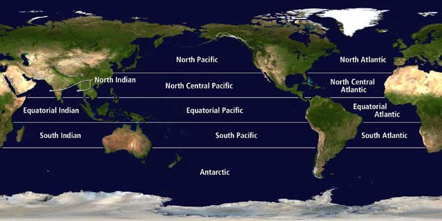NASA Top Story OCEAN PLANT LIFE SLOWS DOWN AND ABSORBS LESS - The five major oceans