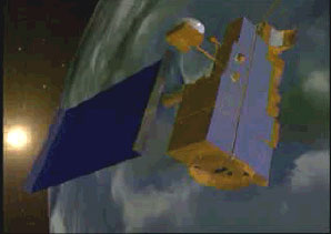 still from animation showing the ICESat spacecraft.
