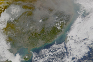 China haze caused by fires