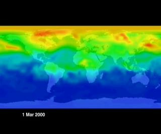 Visualization from model data of carbon monoxide moving around the world.