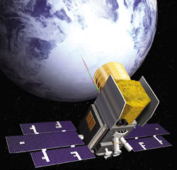 Artist's rendering of the ICESat satellite