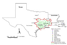 Map of Texas and Louisana with indicating case study area.