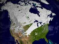 The image above shows snow cover (white pixels) across North America from February 2-9, 2002