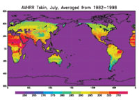 This map shows averaged land surface temperature for the month of July from the years 1982 through 1998.
