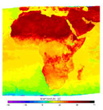 These two images show temperatures on the African continent in the first week of January (top) and the first week of July (bottom) 2000, respectively.