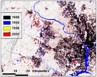 This image shows change in developed areas between 1986 and 2000 near Dulles airport in northern Virginia.