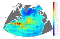 This image shows the dominant pattern of variability of the sea-surface height in the 1990s.