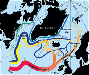 Image showing pathways associated with the transformation of warm subtropical waters into colder subpolar and polar waters in the northern North Atlantic.