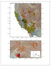 This image shows a map for rock magnetic data locations found in the USGS magnetic database. USGS's database contains 17,000 samples.