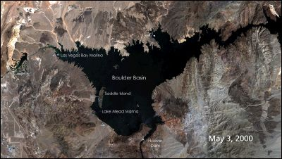 Images of the Boulder Basin of Lake Mead in May 2000 and 2004