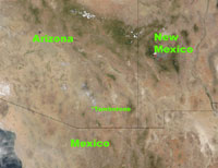 Satellite image of the Arizona area.